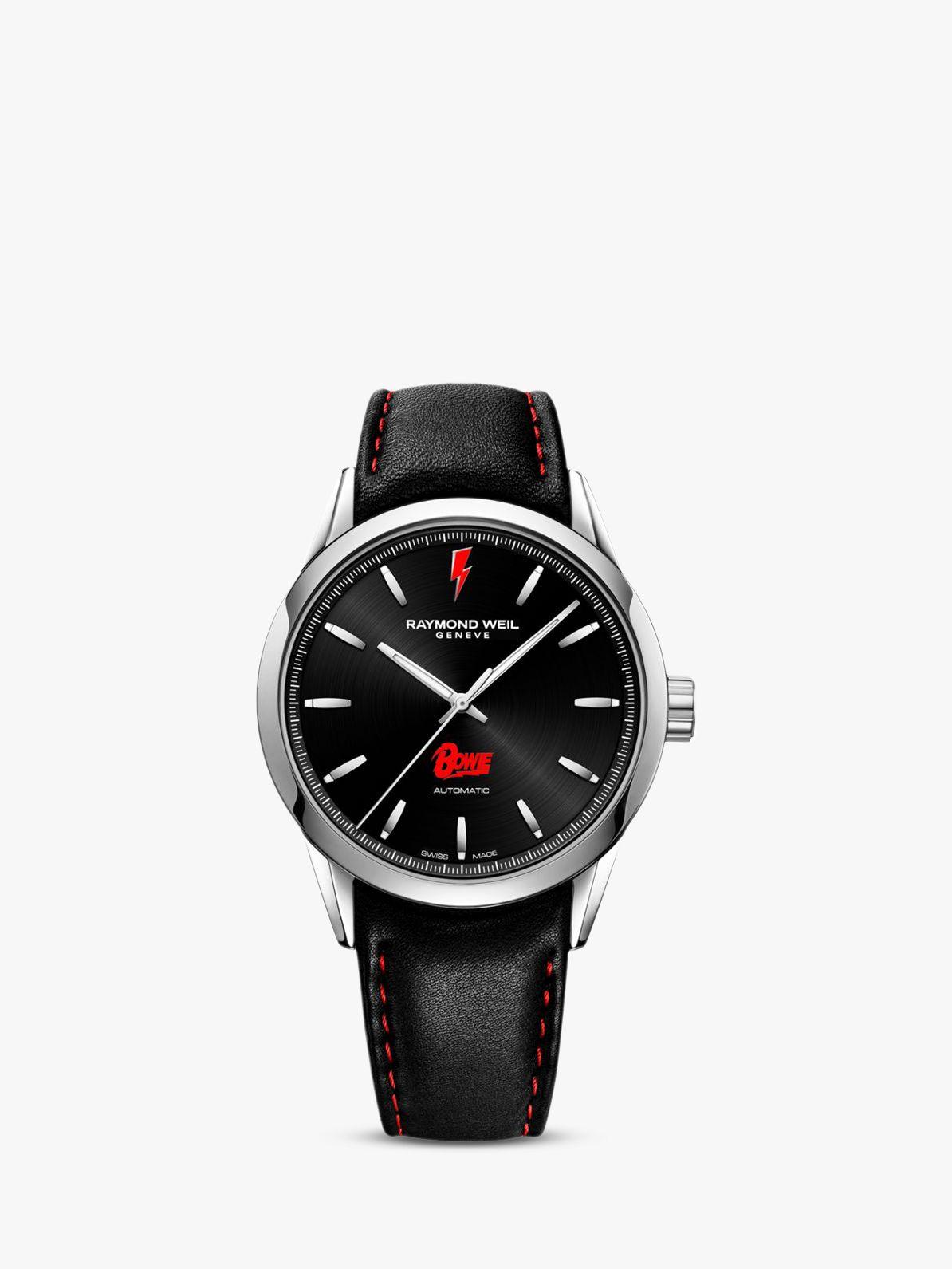Raymond Weil Raymond Weil 2731-ST-BOW01 Men's Freelancer Bowie Limited Edition Leather Strap Watch, Black
