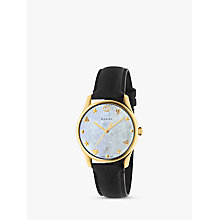 Buy Gucci YA1264044 Unisex G-Timeless Date Leather Strap Watch, Black/Mother of Pearl Online at johnlewis.com