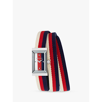 Product photo of Gucci ya147502 women s gframe rectangular fabric strap watch multi silver