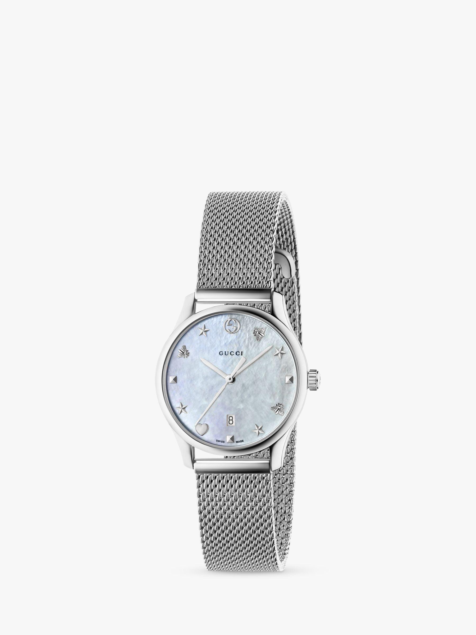 Gucci Gucci YA126583 Women's G-Timeless Date Bracelet Strap Watch, Silver