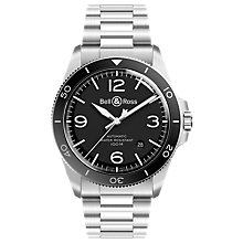 Buy Bell & Ross BRV292-BL-ST/SST Men's Vintage Automatic Date Bracelet Strap Watch, Silver/Black Online at johnlewis.com