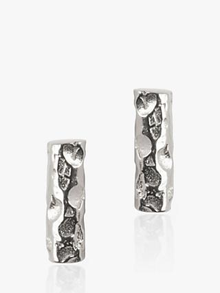 Matthew Calvin Small Meteorite Bar Stud Earrings, Silver