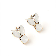 Buy John Lewis Heavy Collared Stone Drop Earrings, White Online at johnlewis.com