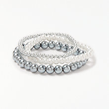 Buy John Lewis Multi Row Faux Pearl Stretch Bracelet, Blue Grey Online at johnlewis.com