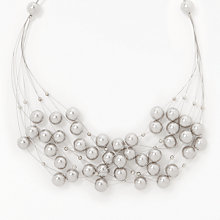 Buy John Lewis Graduated Faux Pearl Wire Necklace, Grey Online at johnlewis.com