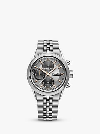 Raymond Weil 7731-ST120621 Men's Freelancer Automatic Chronograph Day Date Bracelet Strap Watch, Silver
