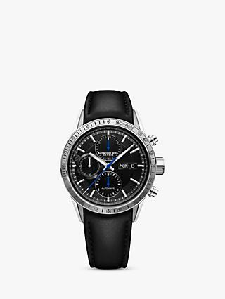 Raymond Weil 7731-STC20021 Men's Freelancer Automatic Chronograph Day Date Leather Strap Watch, Black