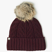 Buy UGG Textured Cuff Pom Pom Beanie Hat Online at johnlewis.com