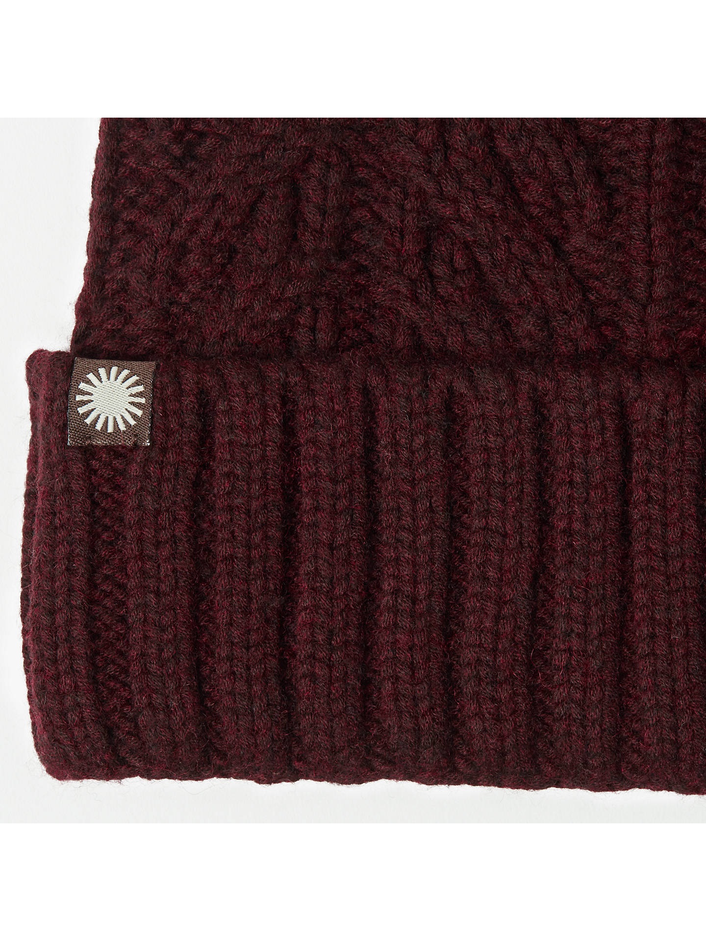 BuyUGG Textured Cuff Pom Pom Beanie Hat, Port Online at johnlewis.com