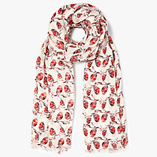 Buy John Lewis Pretty Robin Print Cotton Twill Scarf, Red/Multi Online at johnlewis.com