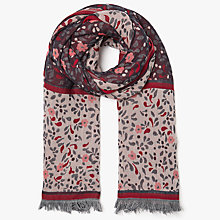 Buy John Lewis Cotton Jacquard Floral Scarf, Red Mix Online at johnlewis.com