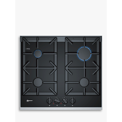 Image of Neff T26TA49N0 61cm Four Zone Gas-on-glass Hob Black With Cast Iron Pan Stands