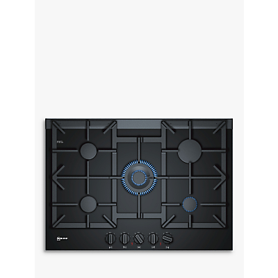 Image of Neff T27TA69N0 75cm Five Zone Gas-on-glass Hob Black With Cast Iron Pan Stands