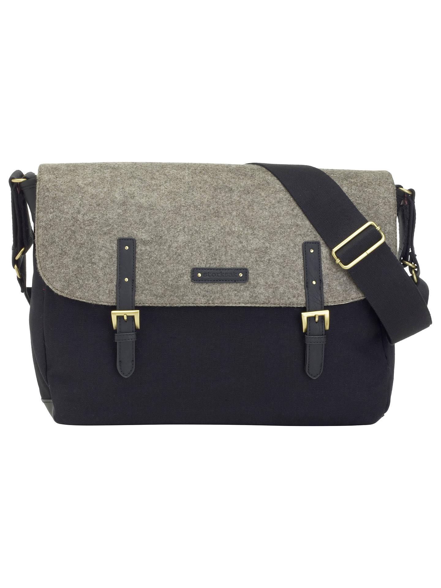 Storksak Ashley Felt Messenger Changing Bag Black Grey Online At Johnlewis