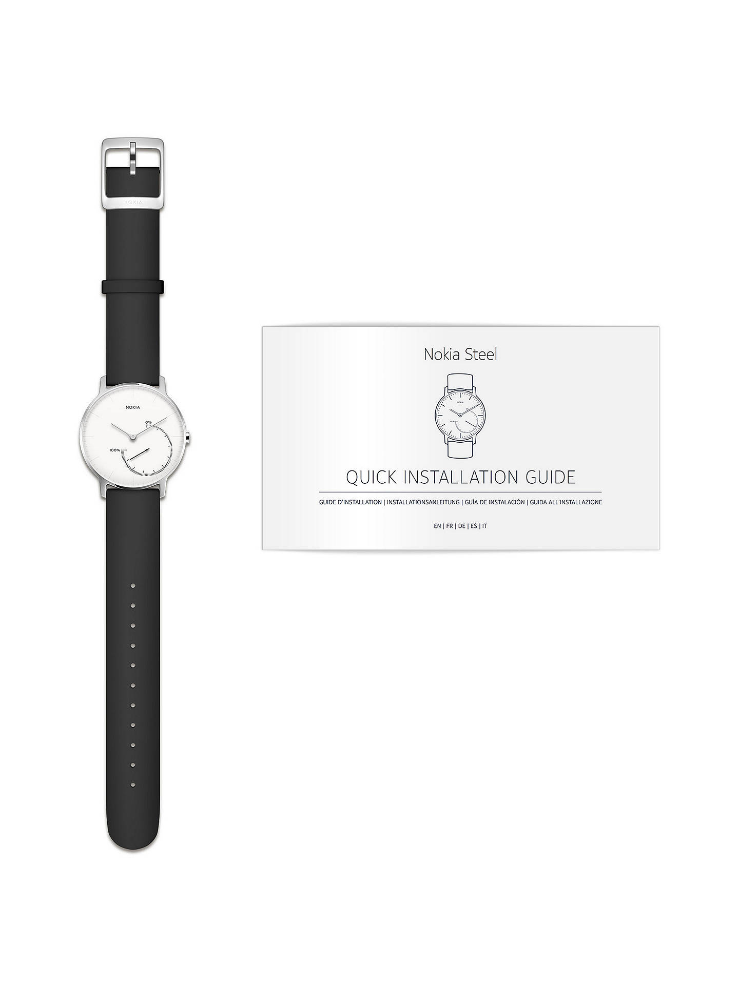 BuyWithings / Nokia Steel Activity & Sleep Tracking Watch, Black/White Online at johnlewis.com