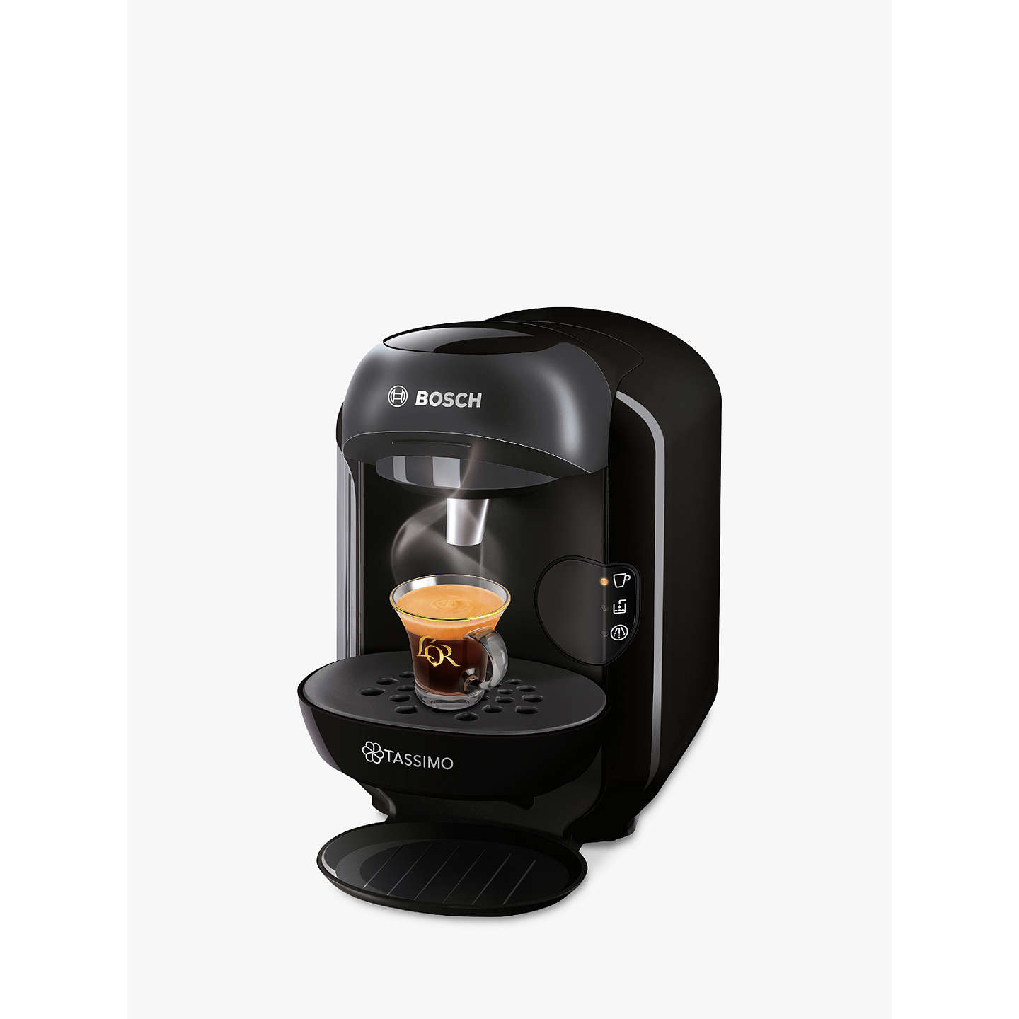 tassimo vivy coffee machine by bosch black at john lewis. Black Bedroom Furniture Sets. Home Design Ideas