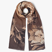 Buy John Lewis Wool and Silk Blend Winter Tulip Print Scarf, Taupe Online at johnlewis.com