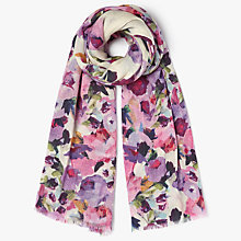 Buy John Lewis Wool and Silk Blend Garlands Print Scarf, Pink Online at johnlewis.com