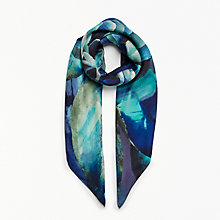 Buy John Lewis Ombre Rose Square Silk Scarf, Blue Online at johnlewis.com