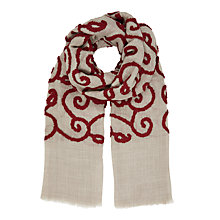 Buy John Lewis Textured Red Swirls Wool Scarf, Beige/Red Online at johnlewis.com