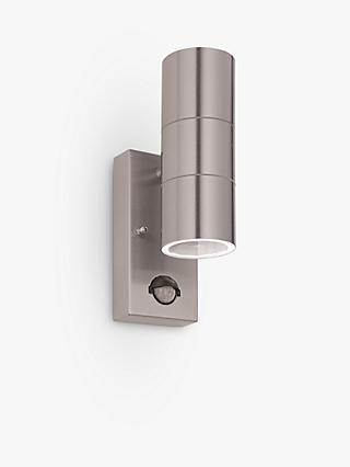 John Lewis & Partners Strom LED PIR Outdoor Wall Light, Steel
