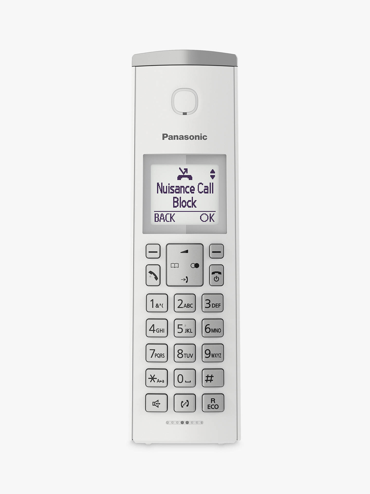 "Buy Panasonic KX-TGK220E Digital Cordless Telephone with 1.5"" LCD Screen, Nuisance Call Blocker and Answering Machine, Single DECT, White Online at johnlewis.com"