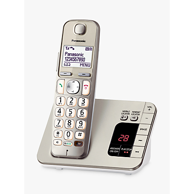 Panasonic KX-TGE220EN Big Button Digital Cordless Telephone with 1.8 LCD Screen, Nuisance Call Blocker and Answering Machine, Single DECT, Metallic