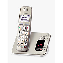 "Buy Panasonic KX-TGE220EN Big Button Digital Cordless Telephone with 1.8"" LCD Screen, Nuisance Call Blocker and Answering Machine, Single DECT, Metallic Online at johnlewis.com"