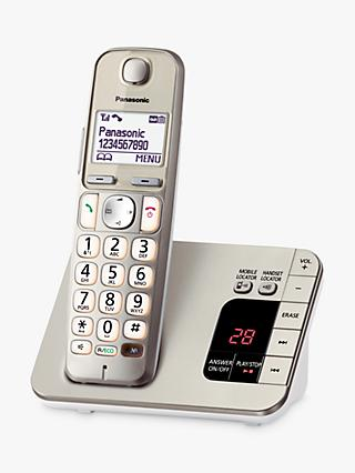 "Panasonic KX-TGE220EN Big Button Digital Cordless Telephone with 1.8"" LCD Screen, Hearing Aid Compatibility, Nuisance Call Blocker & Answering Machine, Single DECT, Metallic"