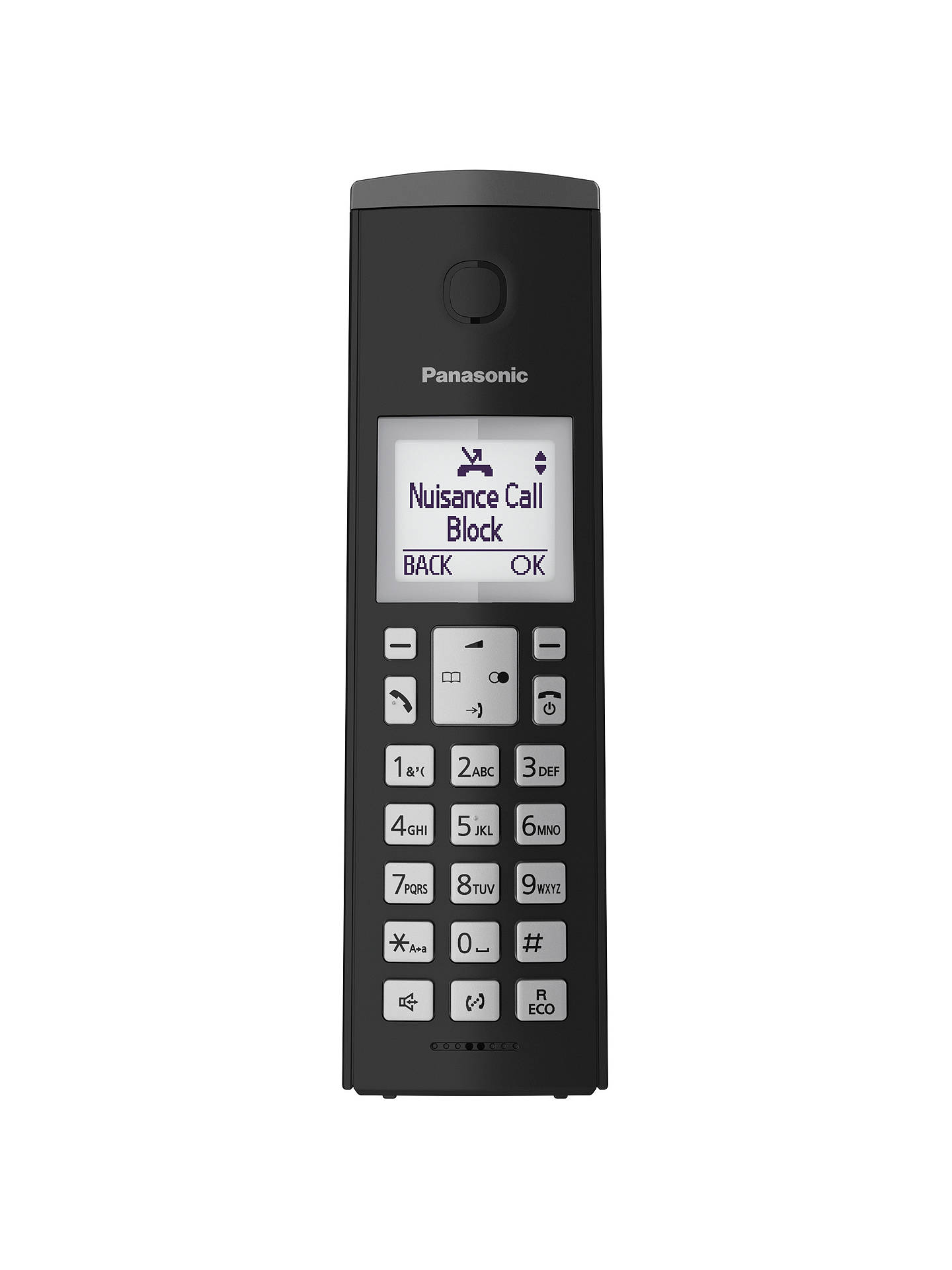 "Buy Panasonic KX-TGK220EB Digital Cordless Telephone with 1.5"" LCD Screen, Nuisance Call Blocker and Answering Machine, Single DECT, Black Online at johnlewis.com"