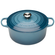 Buy NEW Le Creuset Signature Cast Iron 24cm Round Casserole, Marine Online at johnlewis.com