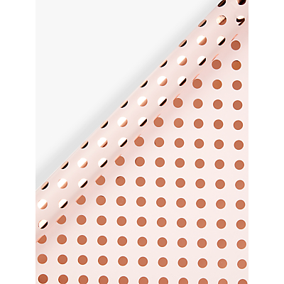 Image of John Lewis & Partners Pink With Rose Gold Spot Gift Wrap, 3m