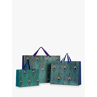 Image of John Lewis & Partners Peacock Feather Gift Bag