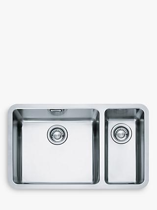 Franke Kubus KBX 160 45-20 Left Hand 1.5 Bowl Undermounted Kitchen Sink, Stainless Steel