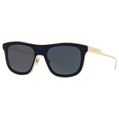 Dolce & Gabbana DG2174 D-Frame Sunglasses, Black/Grey