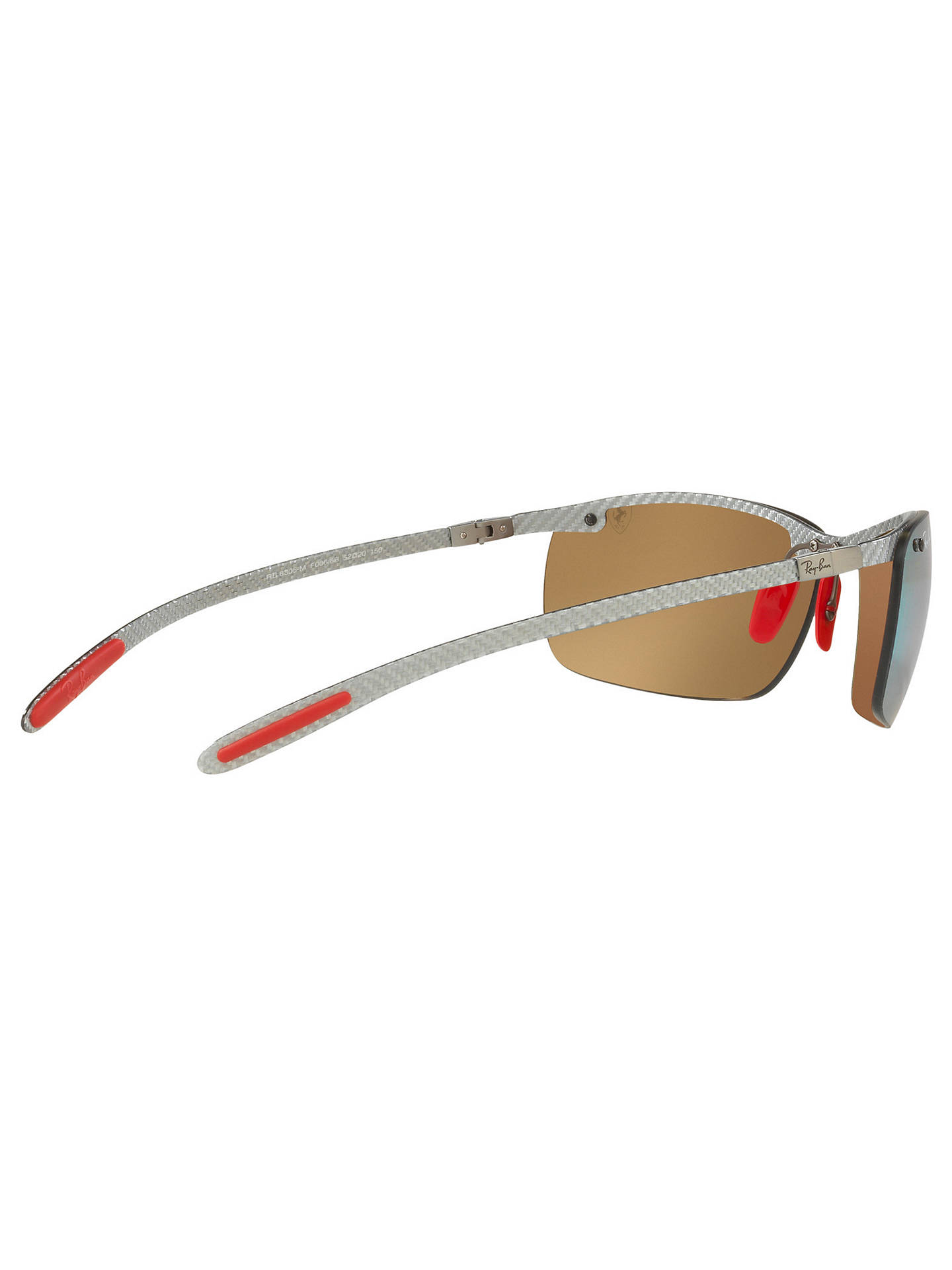Buy Ray-Ban RB8305M Polarised Scuderia Ferrari Collection Rectangular Sunglasses, Grey/Mirror Gold Chromance Online at johnlewis.com