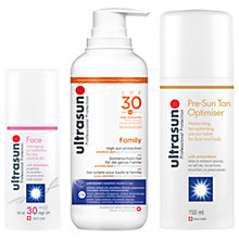 Buy Ultrasun SPF 30 Anti-Ageing Sensitive Facial Sun Cream, 50ml and SPF30 Family Sun Cream, 400ml with Gift Online at johnlewis.com