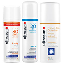 Buy Ultrasun SPF 30 Family Ultra Sensitive Sun Cream, 150ml and SPF 20 Sports Sun Gel, 200ml with Gift Online at johnlewis.com