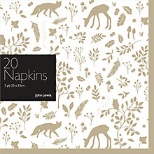 Buy John Lewis Woodland Napkins, Pack of 20 Online at johnlewis.com