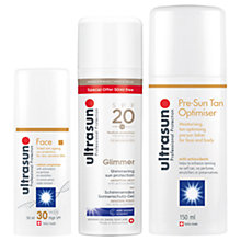 Buy Ultrasun SPF 30 Tinted Face Sun Cream, 50ml and Glimmer Shimmering SPF20 Sun Lotion, 150ml with Gift Online at johnlewis.com