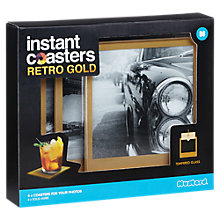 Buy Mustard Instant Photo Personalised Coasters, Gold Online at johnlewis.com