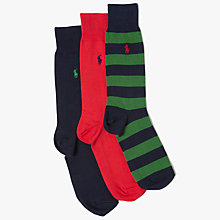 Buy Polo Ralph Lauren RGB Stripe Socks Gift Box, Pack of 3, Multi Online at johnlewis.com