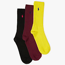 Buy Polo Ralph Lauren Ribbed Socks Gift Box, Pack of 3, Multi Online at johnlewis.com