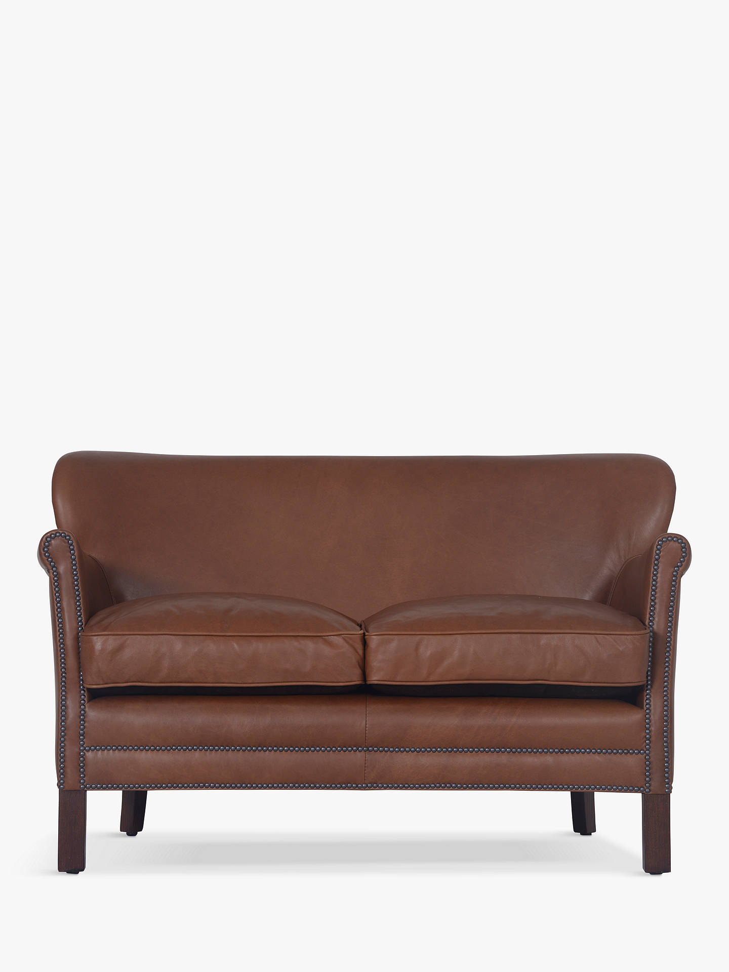 Halo Little Professor Aniline Leather Pee 2 Seater Sofa Riders Nut Online At Johnlewis