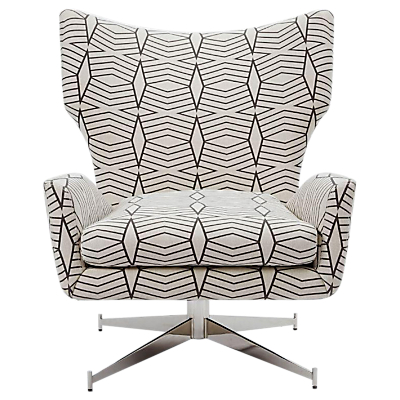 west elm Hemming Swivel Armchair, Black/White Geometric