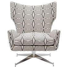 Buy west elm Hemming Swivel Armchair, Black/White Geometric Online at johnlewis.com