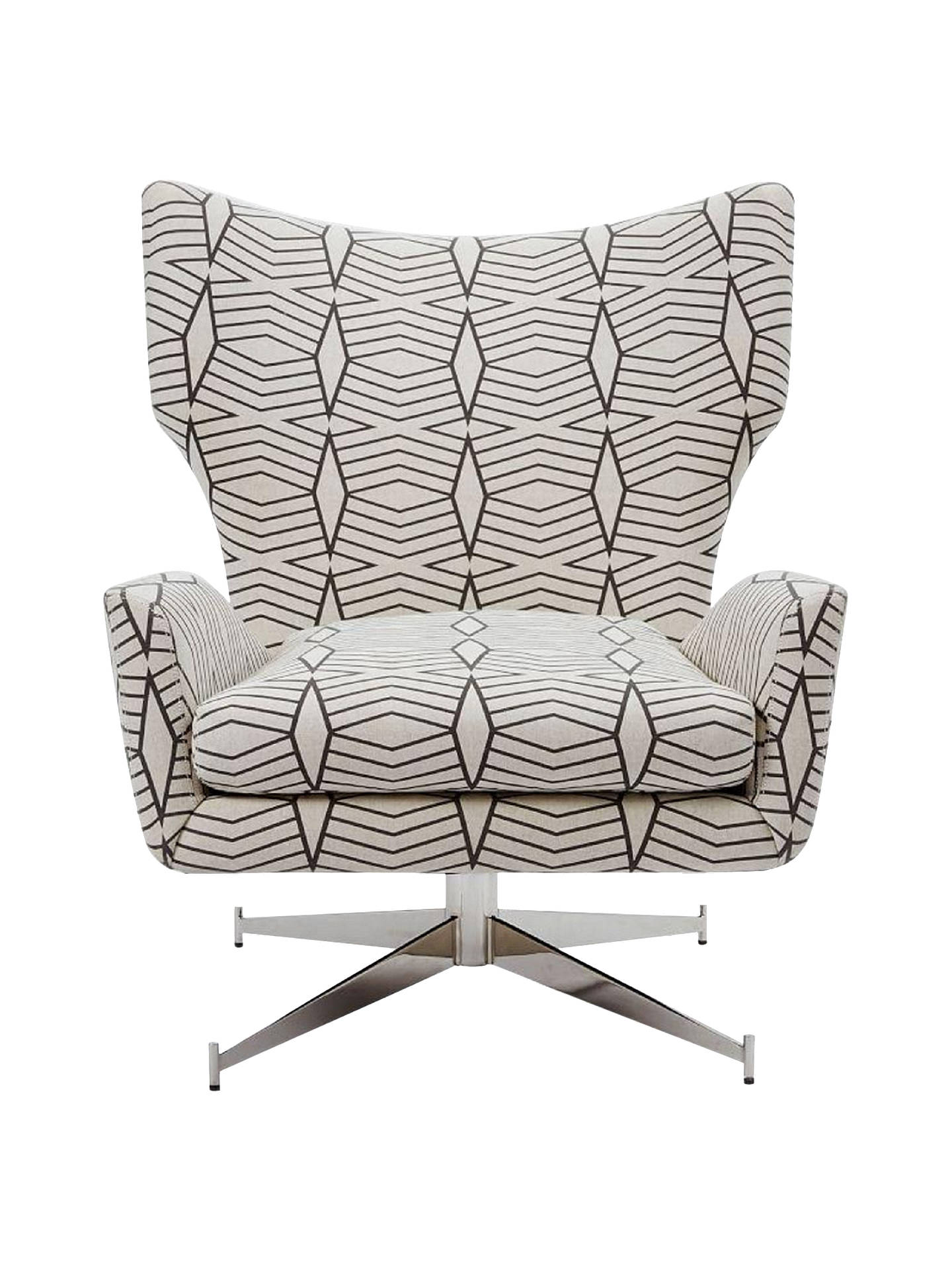 west elm Hemming Swivel Armchair, Black/White Geometric at ...