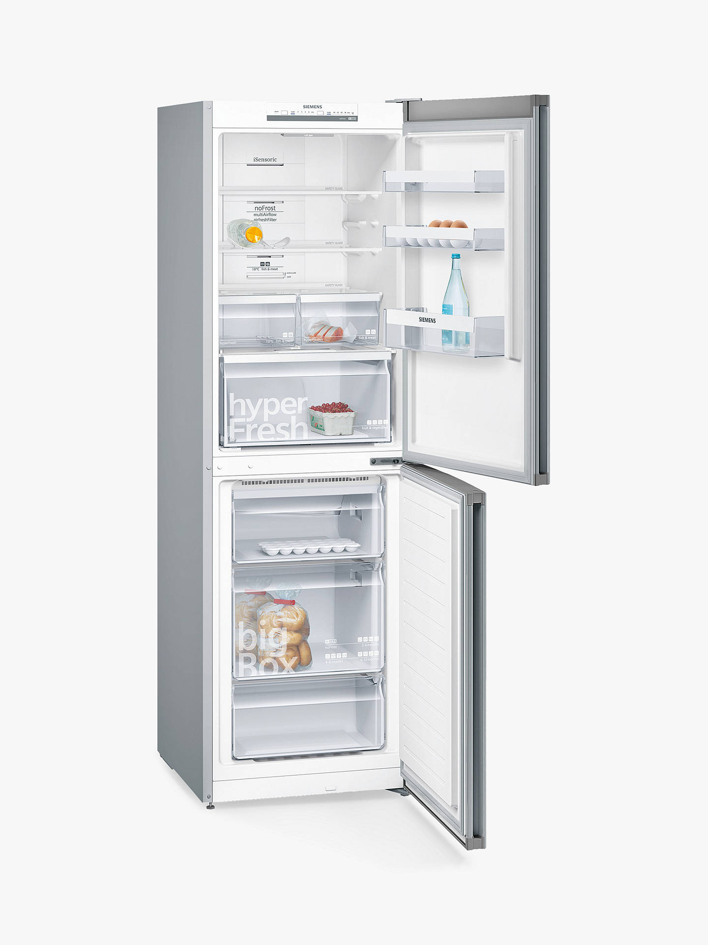 Buy Siemens KG34NVI35G Freestanding Fridge Freezer, A++ Energy Rating, 60cm Wide, Stainless Steel Online at johnlewis.com