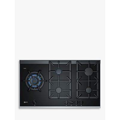 Image of Neff T29TA79N0 90cm Five Burner Gas-on-glass Hob Black With Cast Iron Pan Stands