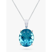 Buy EWA 9ct White Gold Oval Pendant Necklace Online at johnlewis.com